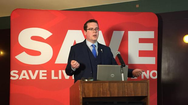John McGuirk of the Save the 8th campaign at a press conference in Dublin where he accused the Health Minister of