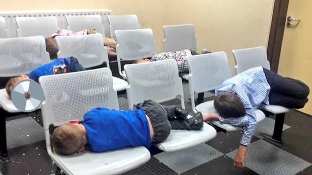 Children sleep in a Dublin Garda station (Handout image)