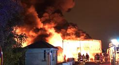 The fire at the recycling centre (Dublin Fire Brigade/PA)