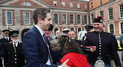 Minister for Health Simon Harris with Irish wolfhound Seodin, mascot to the Dublin fire brigade, at the launch of a new national day to recognise the unsung heroes from frontline and emergency services at Dublin Castle (Brian Lawless/PA)