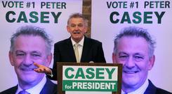 Businessman Peter Casey speaking at the EPIC centre in Dublin (Brian Lawless/PA)