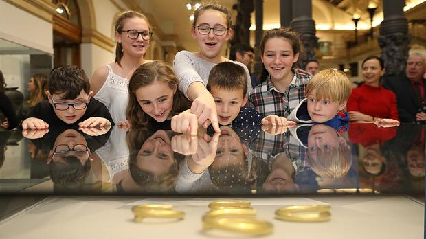 Young guests at the official opening of the Tullydonnell Hoard exhibition at the National Museum of Ireland (Julien Behal/PA)