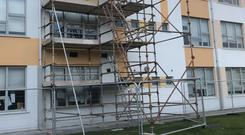 Scaffolding at Tyrrelstown Educate Together School in Dublin, one of the schools that has been closed amid concerns over 'significant structural issues' ( Cate McCurry/PA)