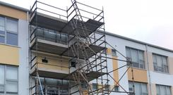 Scaffolding at Tyrrelstown Educate Together School in Dublin (Cate McCurry/PA)