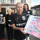 (left to right) June McDermott Carroll, Christine Keegan, Antoinette Keegan and Selina McDermott relatives of Stardust nightclub fire victims, gather at the Keegan family home in Dublin before a protest march (Niall Carson/PA)