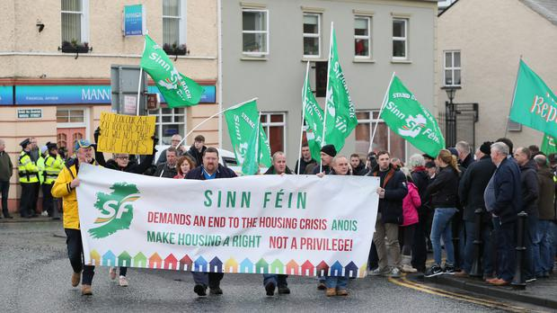 People attend a protest in Strokestown against the handling of a high-profile eviction (Brian Lawless/PA)