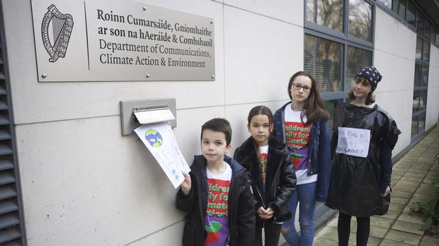 Children protest about climate change outside the Department of Communications, Climate Action and Environment in Dublin (JP Keating/PA)