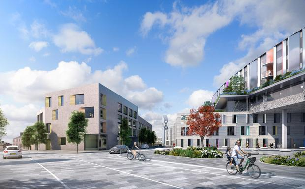 An artist impression issued by Children's Hospital Group of proposed family accommodation block at the site of the new state-of-the-art children's hospital in Dublin