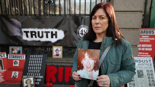 Samantha Curran, whose mother Helina Mangan was among the 48 victims of the Stardust nightclub fire in Dublin on Valentine's Day in 1981, outside Leinster House (Niall Carson/PA)