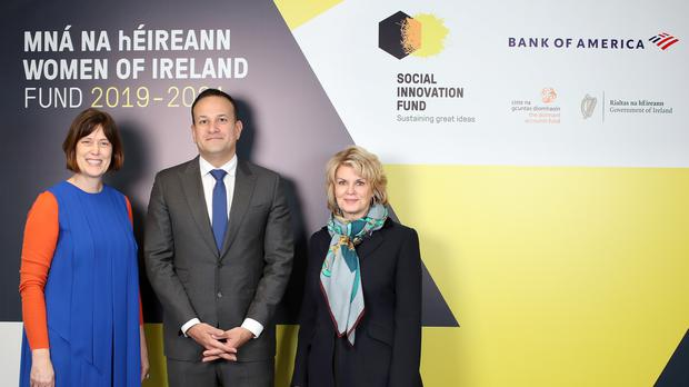Deirdre Mortell, CEO of Social Innovation Fund Ireland , The Taoiseach, Leo Varadkar TD and Anne Finucane, Chairman Bank of America Merrill Lynch Europe and Vice Chairman, Bank of America officially announce the new Mná na hÉireann – Women of Ireland Fund. The fund is a €1.8 million initiative which will be delivered over three years (Marc O'Sullivan/PA)