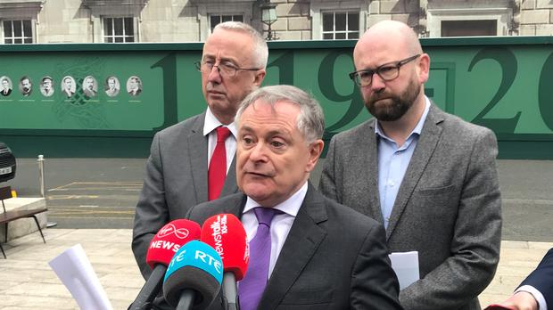 Labour party leader Brendan Howlin discussing the vote of no confidence in the Health Minister (Michelle Devane/PA Wire)