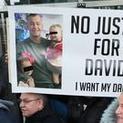 Relatives of David Byrne. who was murdered at the Regency Hotel in Dublin in 2016. react outside the Special Criminal Court in after charges were dropped against his alleged killer, Patrick Hutch (Niall Carson/PA)