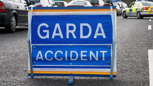 Garda sign on road. Stock photo