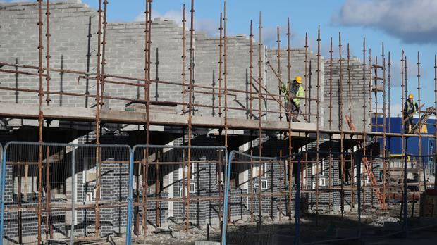 A general view of construction work on the O Cualann Cohousing affordable housing scheme in Ballymun North Dublin (Niall Carson/PA)