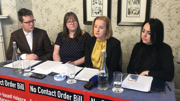 (left to right) student advocate Damien McClean, MEP candidate Rita Harold, Solidarity TD Ruth Coppiner and domestic abuse survivor Jessica Bowes during the launch of the new No Contact Order Bill to protect victims of abuse (Aoife Moore/PA)