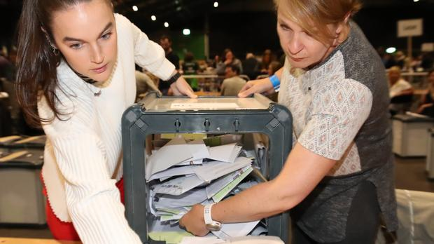 Ballots are counted in the local government and European elections at the RDS in Dublin (Niall Carson/PA)