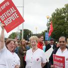 Hospital workers have gone on strike (Niall Carson/PA)