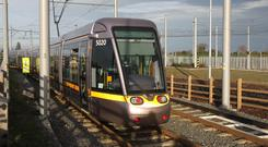 Footage of an attack on the Luas has gone viral (Niall Carson/PA)