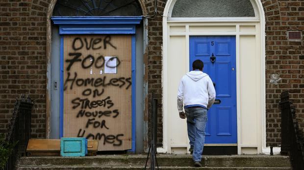 A boarded up building in Seville Place (Brian Lawless/PA)