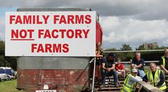 Independent farmers and supporters at a protest outside the Dawn Meats plant at Grannagh on the Waterford/Kilkenny border (Brian Lawless/PA)