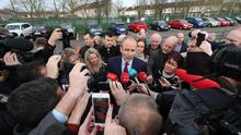 Fianna Fail leader Micheal Martin arriving at Nemo Rangers GAA Club in Cork (Yui Mok/PA)