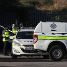 Gardai at the scene of a shooting in Killeek Lane in the St Margaret's area of Dublin (Brian Lawless/PA)