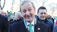 Taoiseach Enda Kenny takes part in the St Patrick's Day parade in New York