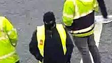 Balaclava-clad protesters outside Dawn Meats in Grannagh, Kilkenny (Dawn Meats/PA)