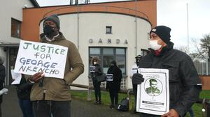 Friends of George Nkencho protest outside Blanchardstown Garda station, Dublin (Niall Carson/PA)