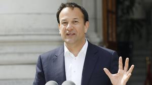 Leo Varadkar after a media briefing on coronavirus outside Government Buildings (Photocall Ireland/PA)