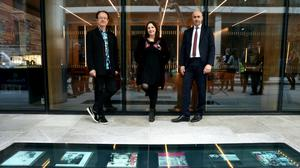Homecoming: At the Vinyl Walkway are (l to r): Hot Press editor Niall Stokes; Moya Brennan of Clannad; Hibernia Reit CEO Kevin Nowlan. Photo: Jason Clarke