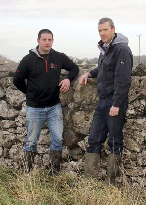Kevin Hannon and David Lane from Craghwell, Co. Galway are two of the farmers with concerns about the proposed Greenway running through their land. Photo: Hany Marzouk