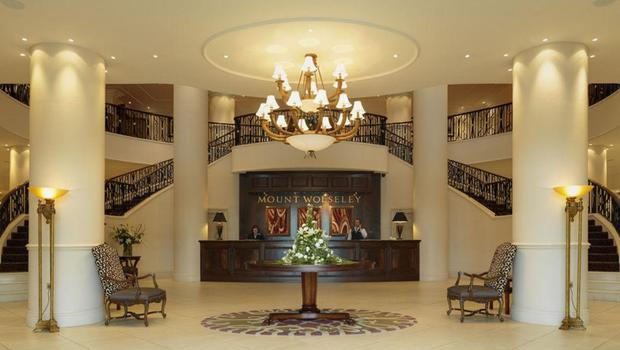 The hotel's impressive lobby, reception and grand staircase