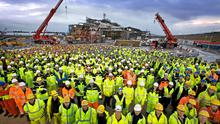 Some of the more than 900 employees pictured during the construction of the Corrib Gas Processing Terminal at Bellanaboy
