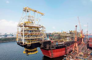 Oil: A floating production storage and offloading vessel used by Tullow being built at a Singapore shipyard