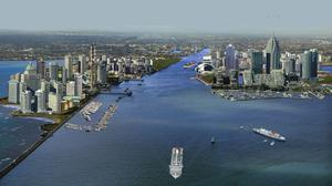 An artist's impression of a plan proposed by the Progressive Democrats in 2005 that would see Dublin Bay transformed into a Manhattan-style skyline