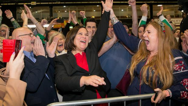 Celebrating: Sinn Fein president Mary Lou McDonald, centre, enjoyed a successful election