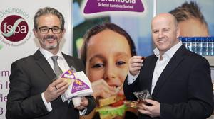 Sean Gallagher with Colm O'Brien, founder of Carambola — the company supplies school lunches to more than 32,500 children. Photo: David Conachy