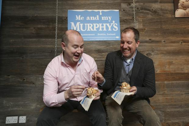 Linked Finance CEO Niall Dorrian and Murphy's Ice Cream co-founder Sean Murphy enjoy a break
