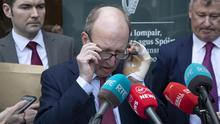 Sports Minister Shane Ross, centre, Minister of State Brendan Griffin, left, and interim FAI boss Gary Owens reveal Government support for an FAI rescue package. Photo: Colin Keegan, Collins Dublin