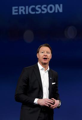 Ericsson's Chief Executive Hans Vestberg speaks during a presentation event at the Mobile World Congress in Barcelona this week.