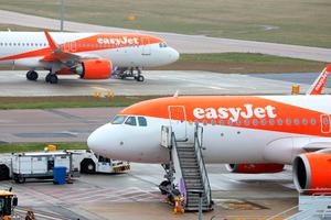EasyJet planes parked at Luton Airport