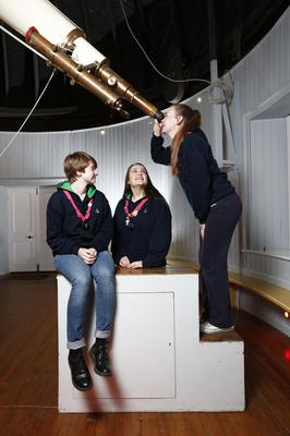 Irish Girl Guides (from left) Amy Dunne, Sarah Connolly and Erin McElwee, as the organisation seeks to raise funds to develop a National Training Centre. Picture: Conor McCabe Photography