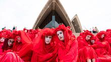Red alert: The Red Rebels, part of the Extinction Rebellion Australia protest group, participate in a climate protest rally in Sydney. Photo: AFP via Getty Images
