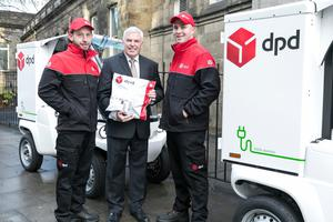 Opportunity knocks: Des Travers, pictured with DPD drivers Francis Bradley and Tom Searle, says the firm has been 'swamped' with demand. Photo: Paul Sherwood