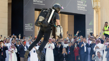 British inventor Richard Browning uses a jet pack at the Future Investment Initiative forum in Riyadh. Photo: AP