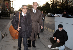 Ajai Chopra (left), then a deputy director at the IMF, on his way to the Central Bank HQ in 2010. Photo: Frank Mc Grath