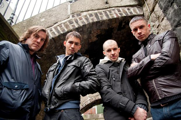 From L-R actors Peter Coonan as Fran, Robert Sheehan as Darren, Tom Vaughan Lawlor as Nidge and Killian Scott as Tommy in a publicity shot from Love/Hate Series 3