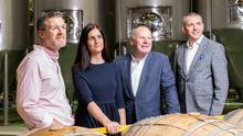 Aiming high: Peter Maguire of Rye River Brewing hosting Maxine Hyde, Ballymaloe Foods; Nicholas Dunne of Killowen Farm and Coca-Cola Ireland's country manager, Petre Sandru yesterday