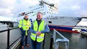 Stena Line's newest addition to its fleet, the brand-new Stena Embla in Belfast.